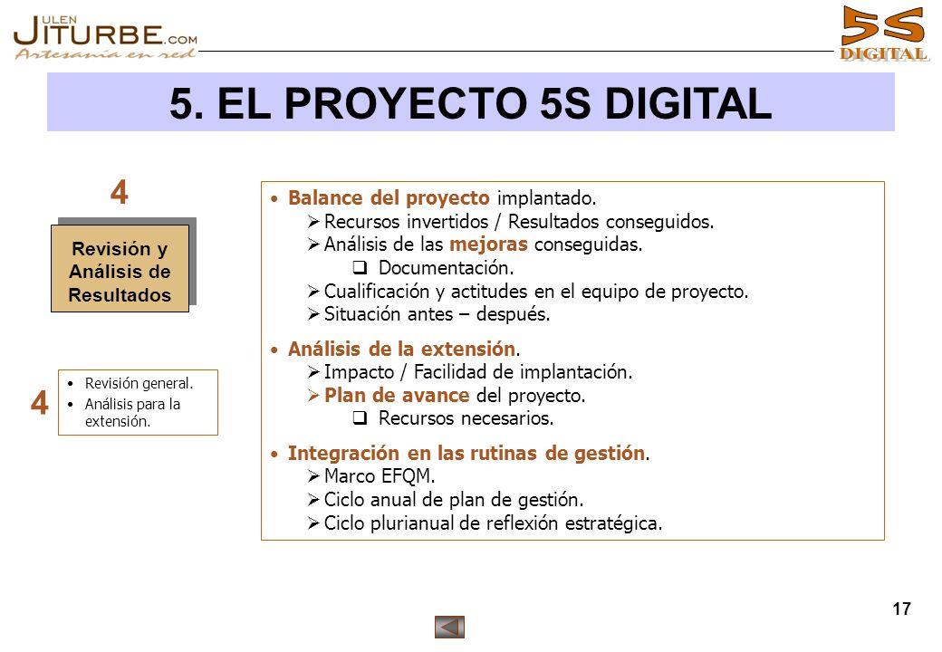 17 5. EL PROYECTO 5S DIGITAL Balance del proyecto implantado. Recursos invertidos / Resultados conseguidos. Análisis de las mejoras conseguidas. Docum