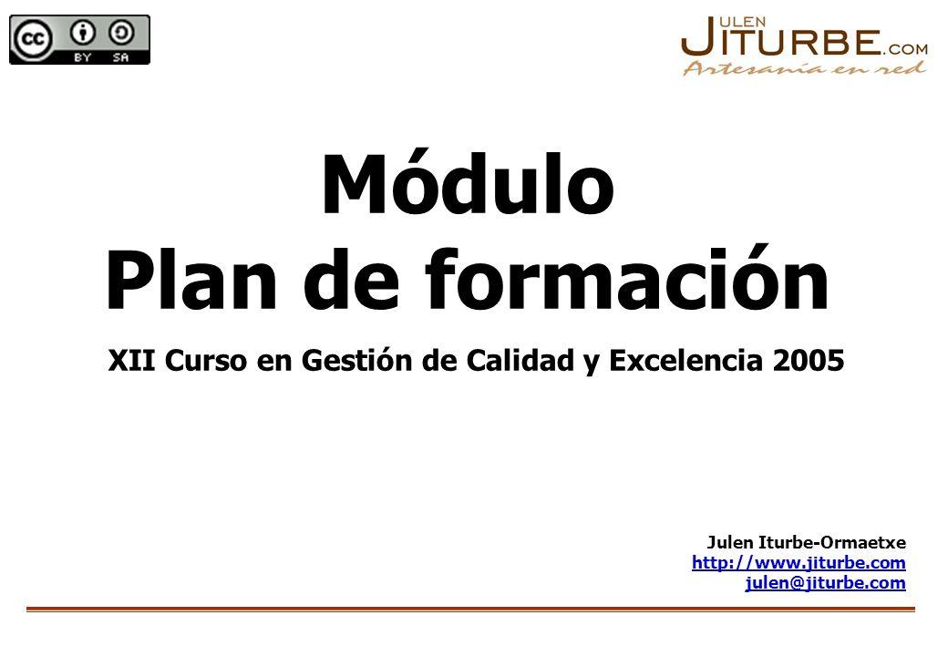 Módulo Plan de formación XII Curso en Gestión de Calidad y Excelencia 2005 Julen Iturbe-Ormaetxe http://www.jiturbe.com julen@jiturbe.com