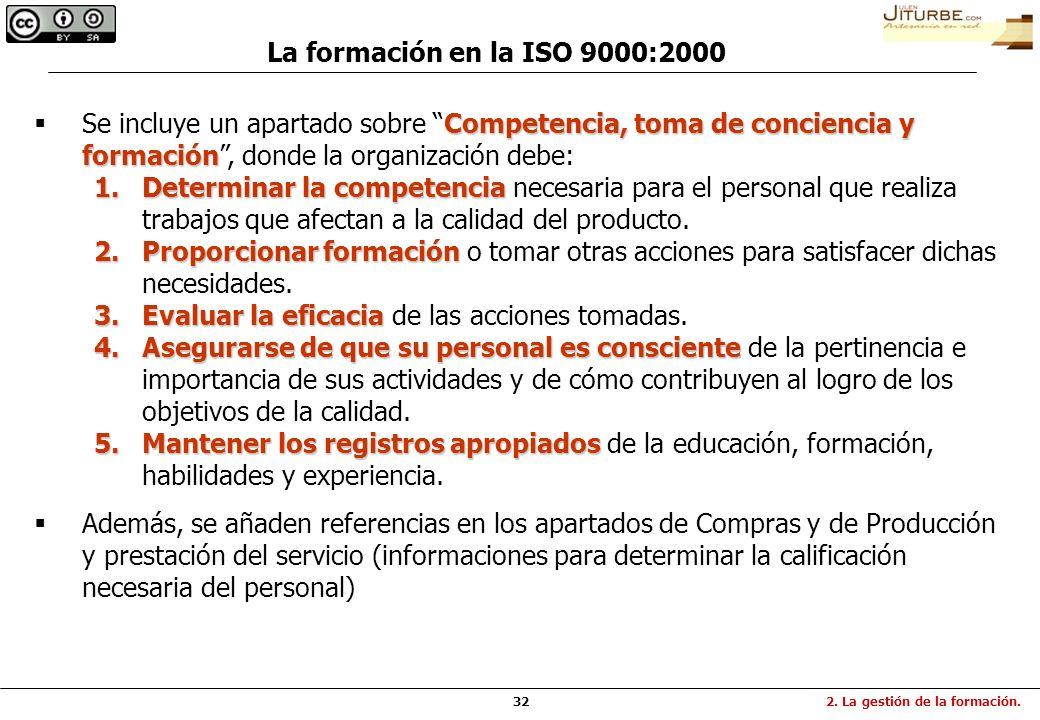 32 Competencia, toma de conciencia y formación Se incluye un apartado sobre Competencia, toma de conciencia y formación, donde la organización debe: 1