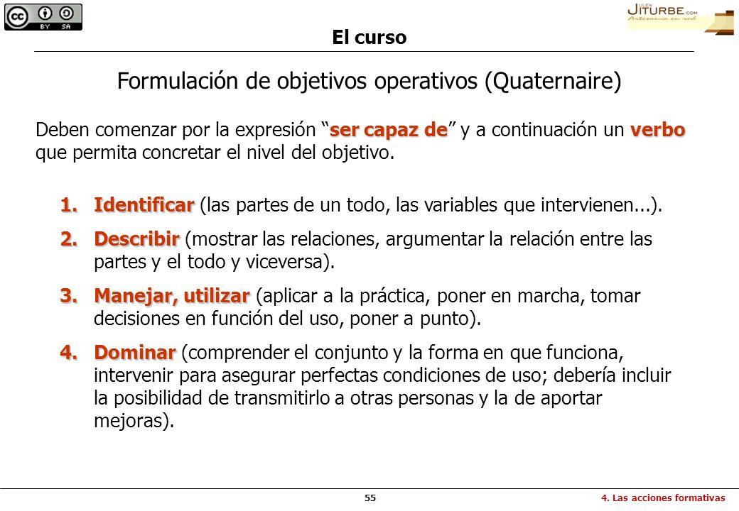 55 El curso 4. Las acciones formativas Formulación de objetivos operativos (Quaternaire) ser capaz deverbo Deben comenzar por la expresión ser capaz d