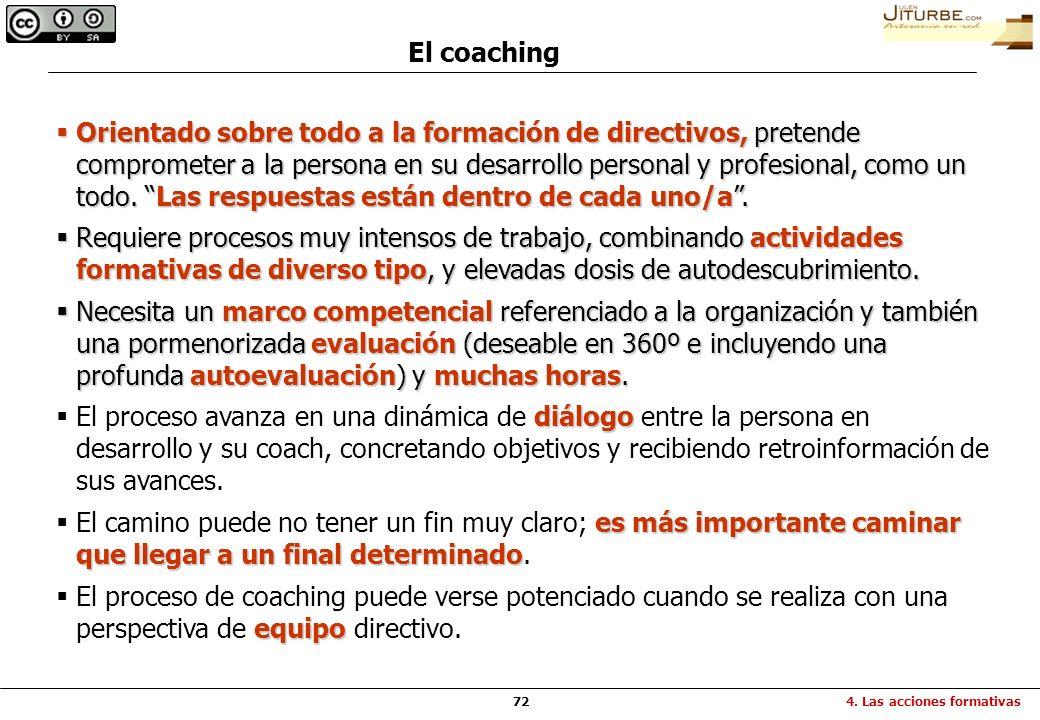 72 El coaching Orientado sobre todo a la formación de directivos, pretende comprometer a la persona en su desarrollo personal y profesional, como un t