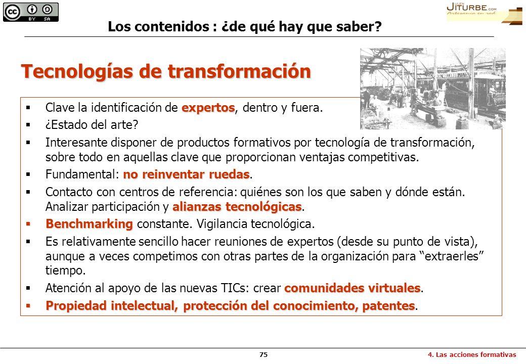 75 Tecnologías de transformación expertos Clave la identificación de expertos, dentro y fuera. ¿Estado del arte? Interesante disponer de productos for