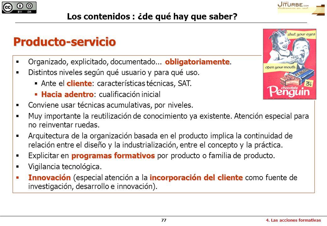 77 Producto-servicio obligatoriamente Organizado, explicitado, documentado... obligatoriamente. Distintos niveles según qué usuario y para qué uso. cl