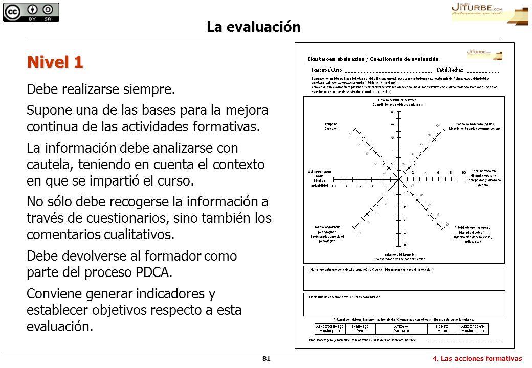 81 La evaluación Debe realizarse siempre. Supone una de las bases para la mejora continua de las actividades formativas. La información debe analizars