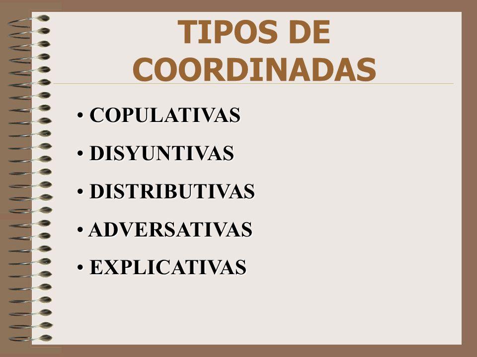 TIPOS DE COORDINADAS COPULATIVAS COPULATIVAS DISYUNTIVAS DISYUNTIVAS DISTRIBUTIVAS DISTRIBUTIVAS ADVERSATIVAS ADVERSATIVAS EXPLICATIVAS EXPLICATIVAS