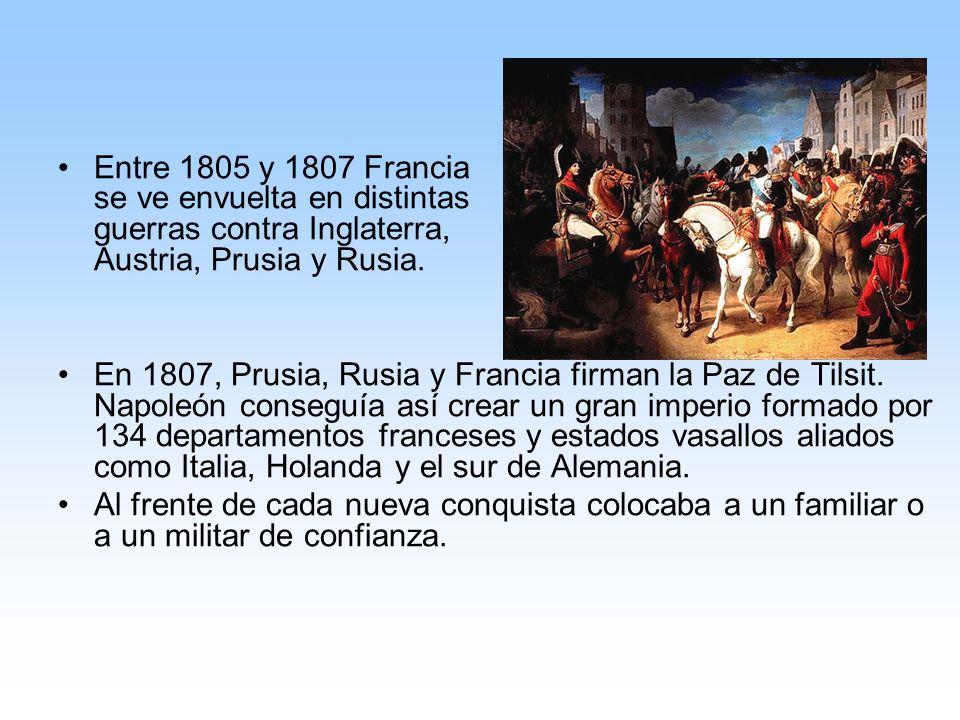 Entre 1805 y 1807 Francia se ve envuelta en distintas guerras contra Inglaterra, Austria, Prusia y Rusia.