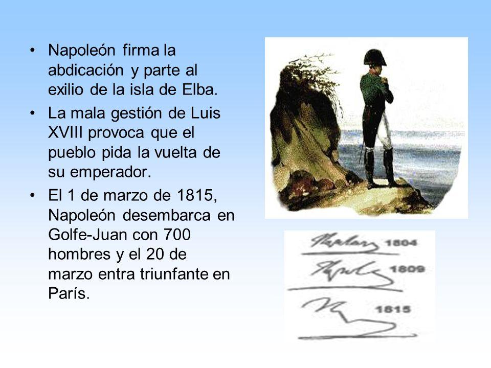 Napoleón firma la abdicación y parte al exilio de la isla de Elba.