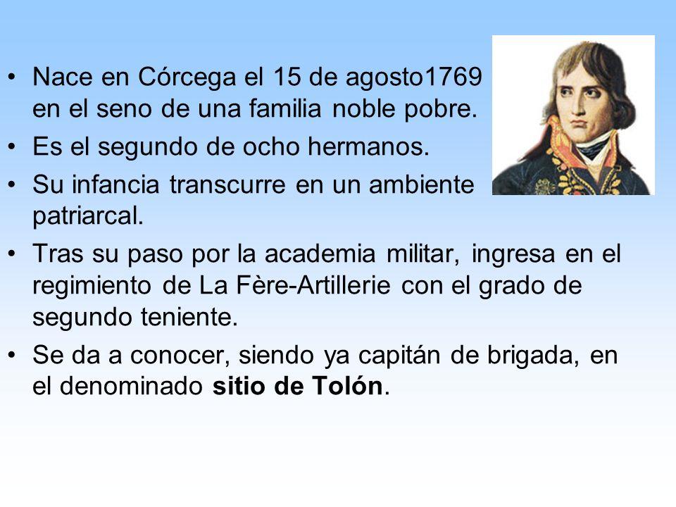 Nace en Córcega el 15 de agosto1769 en el seno de una familia noble pobre.