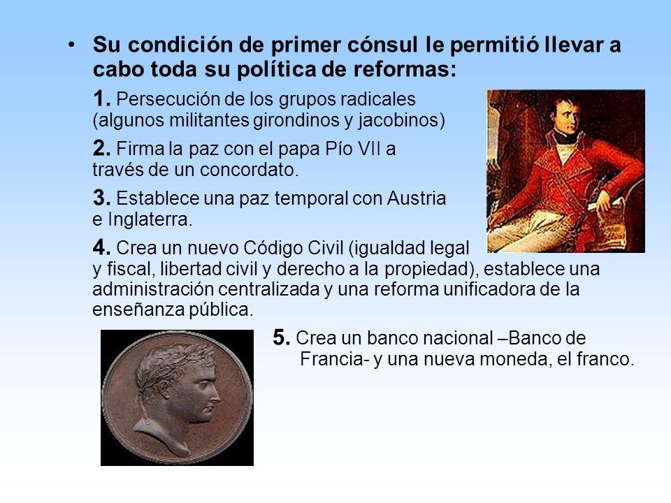 Su condición de primer cónsul le permitió llevar a cabo toda su política de reformas: 1.
