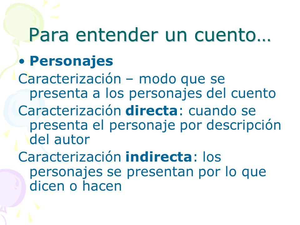 Para entender un cuento… Procedimientos que se usan para presentar los personajes: A.Descripción B.Narración C.Monólogo D.Diálogo