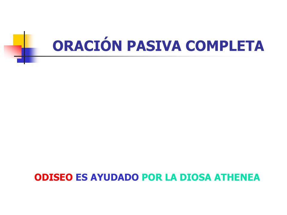 ORACIÓN PASIVA COMPLETA Tiene complemento agente.