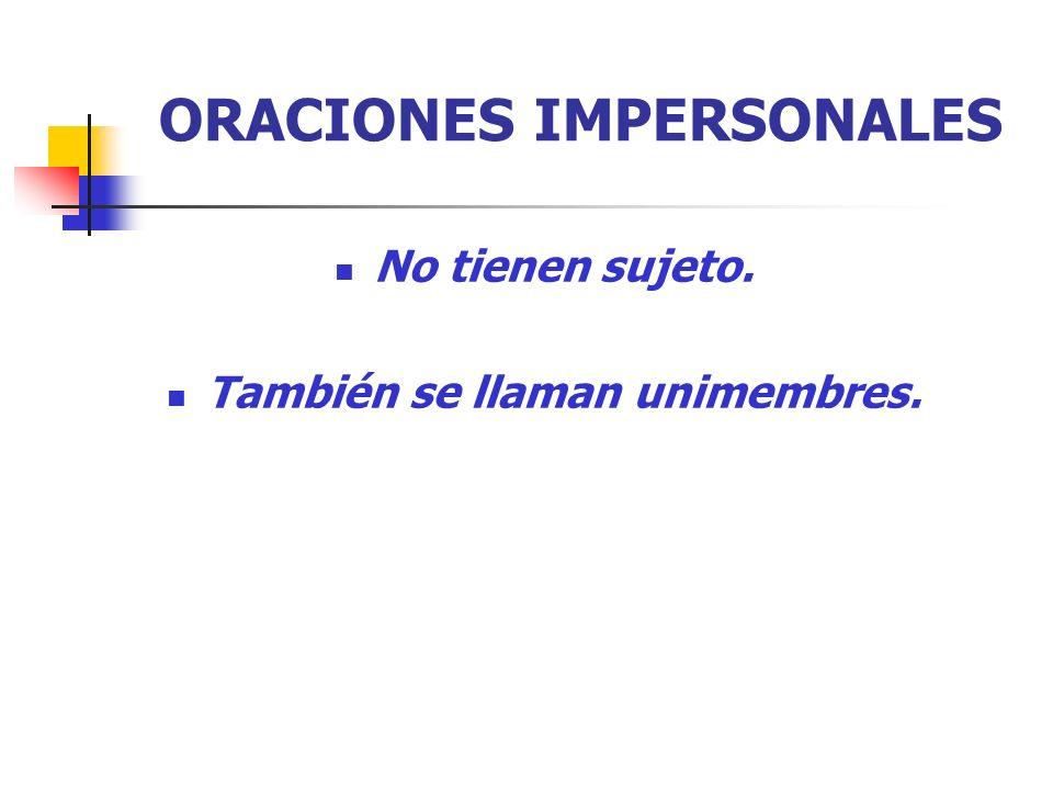 ORACIONES IMPERSONALES