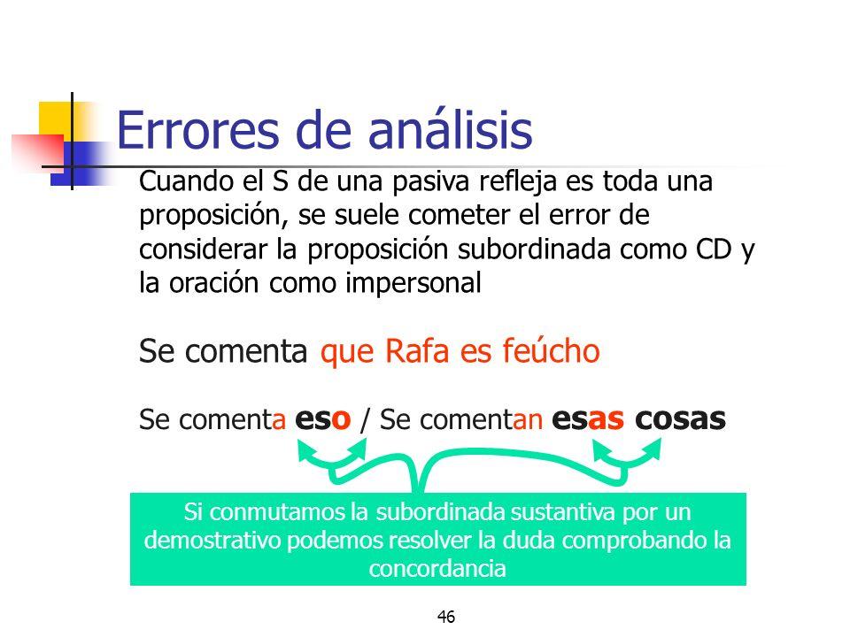 45 Confusión impersonal / pasiva Construcción intransitiva CD precedido de a No hay concordancia entre el elemento nominal y el verbo Puede haber CAg
