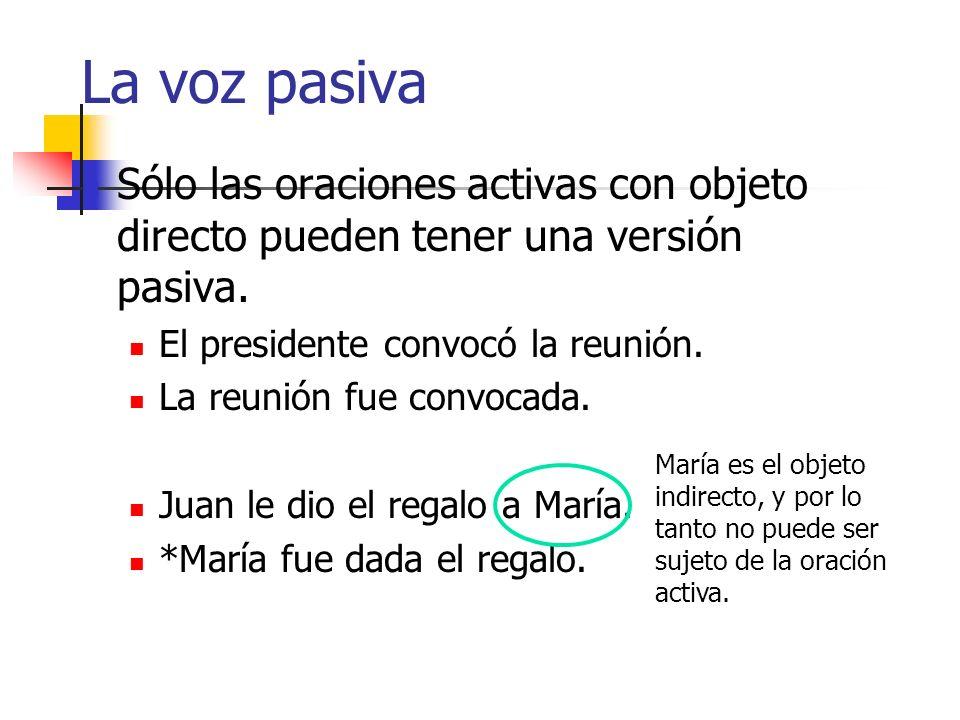La voz pasiva Hechas de oraciones activas El presidente convocó la reunión. versión activa La reunión fue convocada (por el presidente). versión pasiv