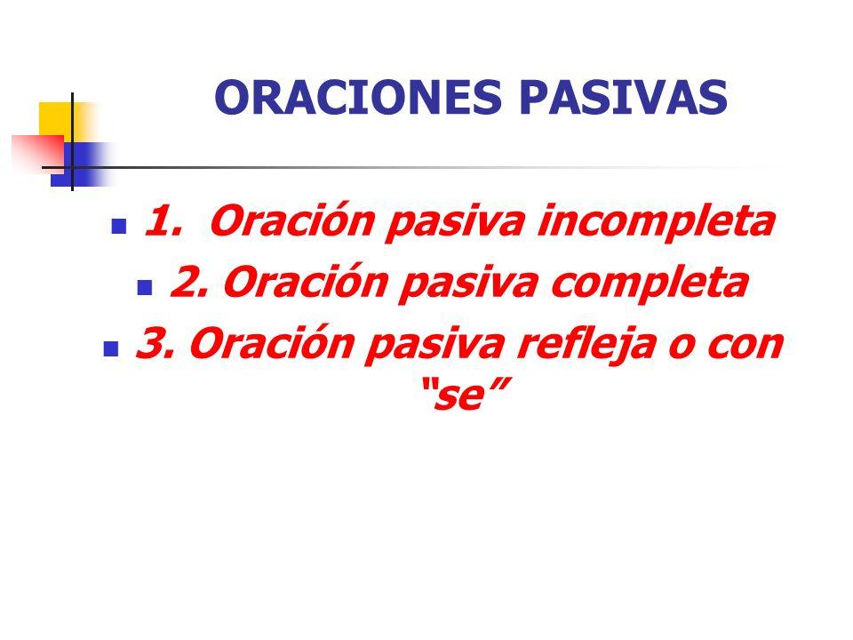 ORACIONES PASIVAS 1.Oración pasiva incompleta 2. Oración pasiva completa 3.
