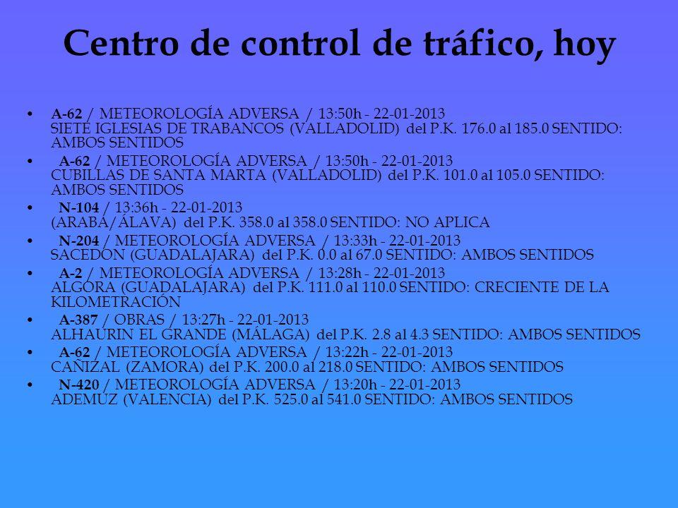 Centro de control de tráfico, hoy A-62 / METEOROLOGÍA ADVERSA / 13:50h - 22-01-2013 SIETE IGLESIAS DE TRABANCOS (VALLADOLID) del P.K.