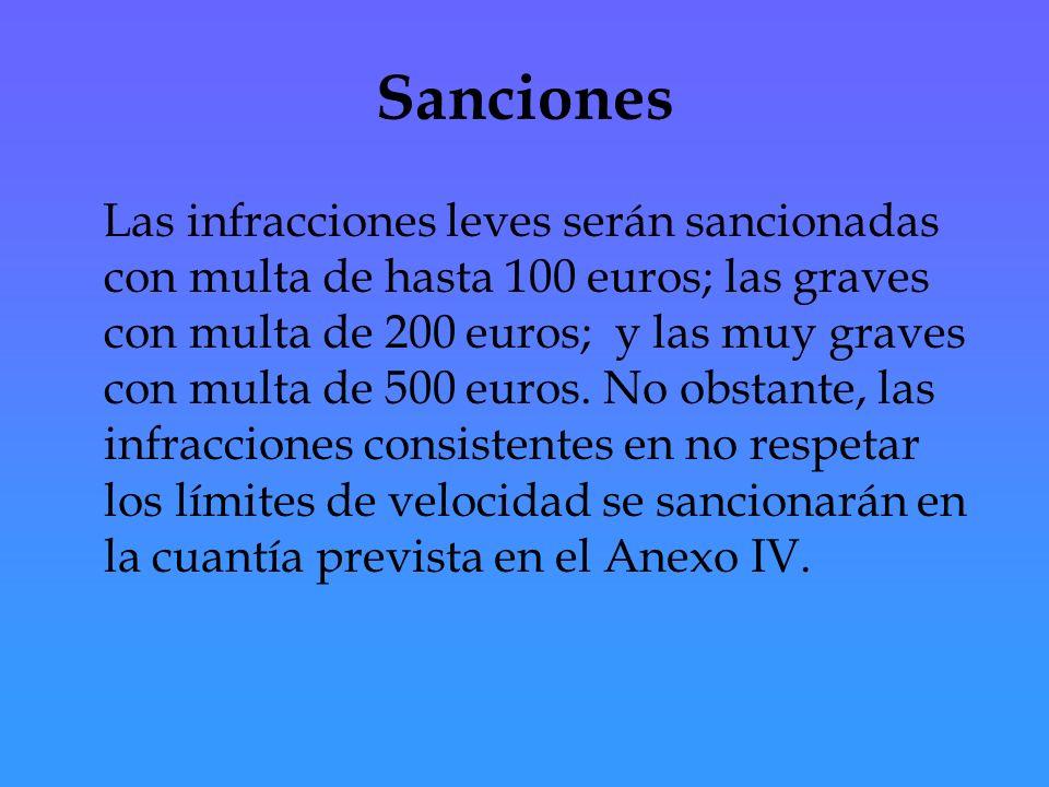 Sanciones Las infracciones leves serán sancionadas con multa de hasta 100 euros; las graves con multa de 200 euros; y las muy graves con multa de 500 euros.
