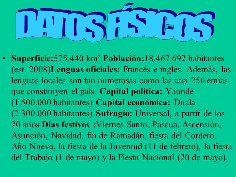 Superficie:575.440 km² Población:18.467.692 habitantes (est. 2008)Lenguas oficiales: Francés e inglés. Además, las lenguas locales son tan numerosas c