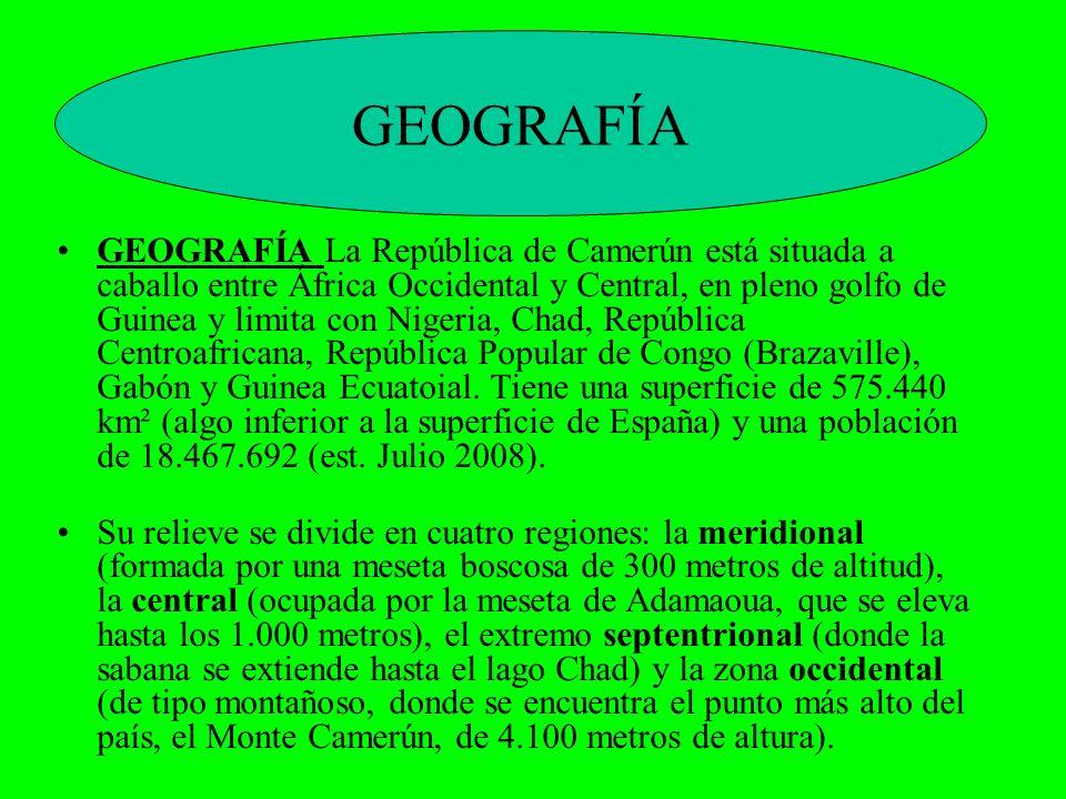 GEOGRAFÍA La República de Camerún está situada a caballo entre África Occidental y Central, en pleno golfo de Guinea y limita con Nigeria, Chad, Repúb
