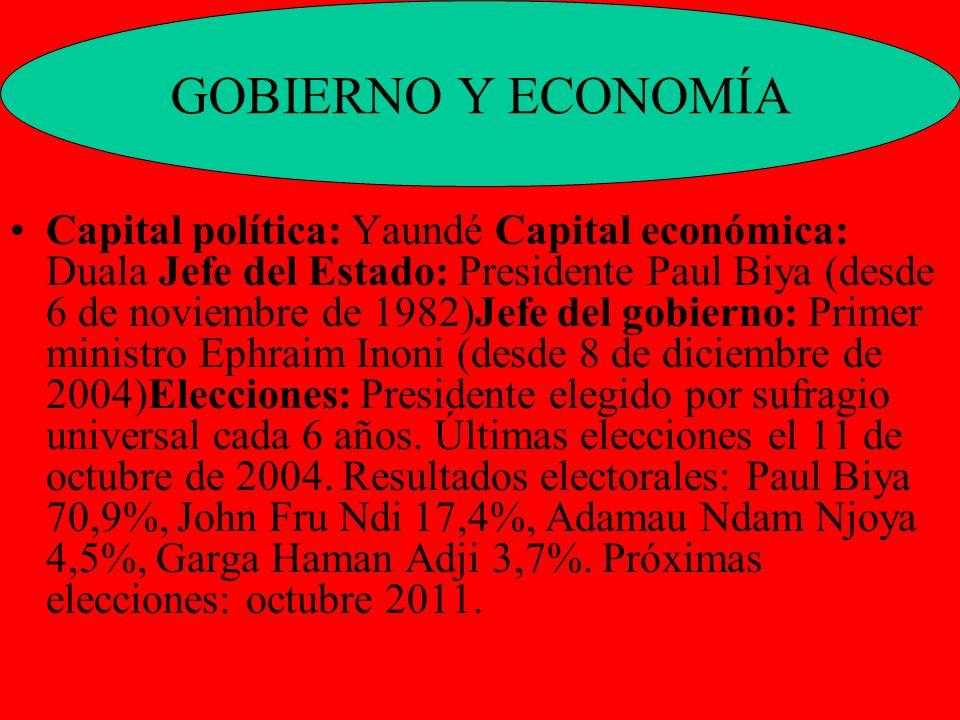 Capital política: Yaundé Capital económica: Duala Jefe del Estado: Presidente Paul Biya (desde 6 de noviembre de 1982)Jefe del gobierno: Primer minist