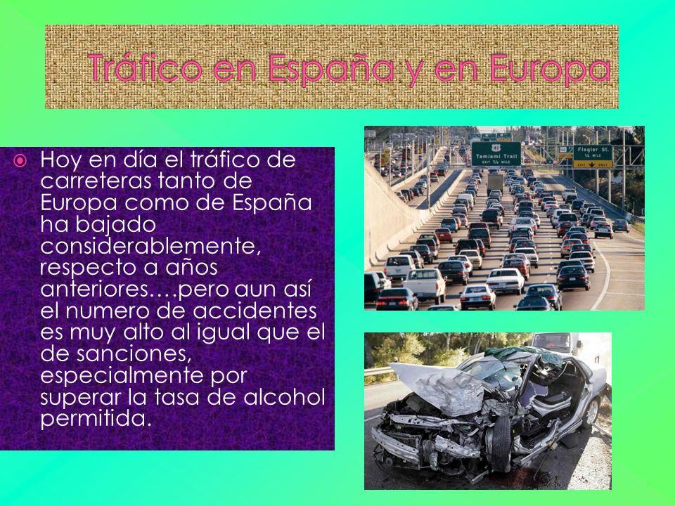 Hoy en día el tráfico de carreteras tanto de Europa como de España ha bajado considerablemente, respecto a años anteriores….pero aun así el numero de accidentes es muy alto al igual que el de sanciones, especialmente por superar la tasa de alcohol permitida.
