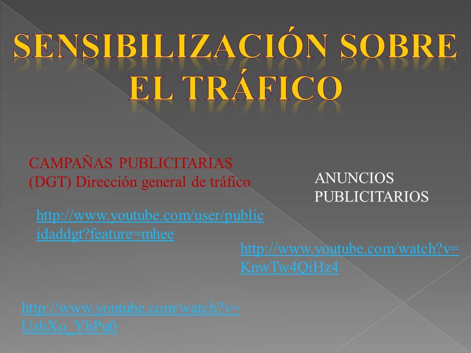 CAMPAÑAS PUBLICITARIAS (DGT) Dirección general de tráfico http://www.youtube.com/user/public idaddgt?feature=mhee http://www.youtube.com/watch?v= UzbXo_YbPu0 http://www.youtube.com/watch?v= KnwTw4QiHz4 ANUNCIOS PUBLICITARIOS