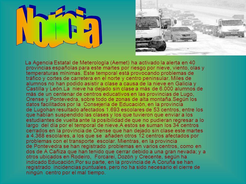 La Agencia Estatal de Meterología (Aemet) ha activado la alerta en 40 provincias españolas para este martes por riesgo por nieve, viento, olas y temperaturas mínimas.