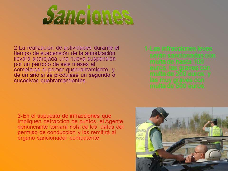 1-Las infracciones leves serán sancionadas con multa de hasta 100 euros; las graves con multa de 200 euros; y las muy graves con multa de 500 euros.