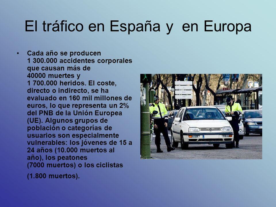 El tráfico en España y en Europa Cada año se producen 1 300.000 accidentes corporales que causan más de 40000 muertes y 1 700.000 heridos. El coste, d