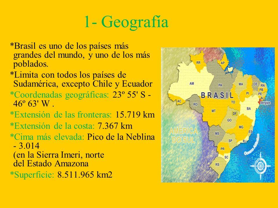1- Geografía *Brasil es uno de los países más grandes del mundo, y uno de los más poblados. *Limita con todos los países de Sudamérica, excepto Chile