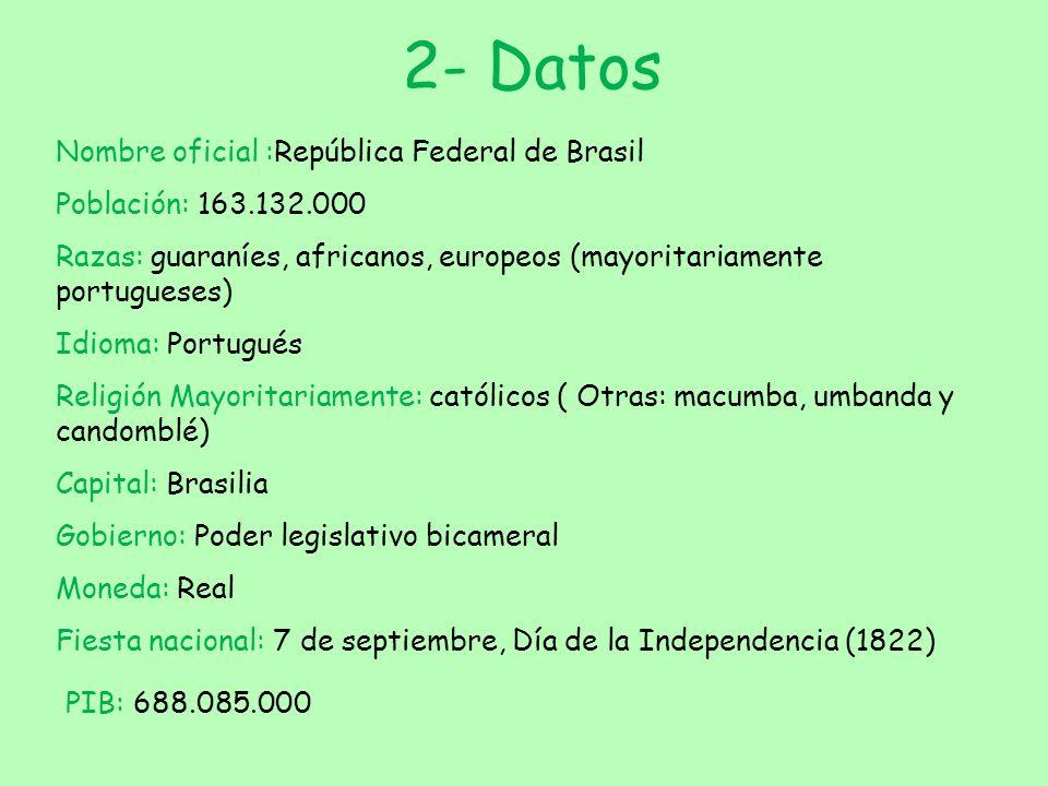 2- Datos Nombre oficial :República Federal de Brasil Población: 163.132.000 Razas: guaraníes, africanos, europeos (mayoritariamente portugueses) Idiom