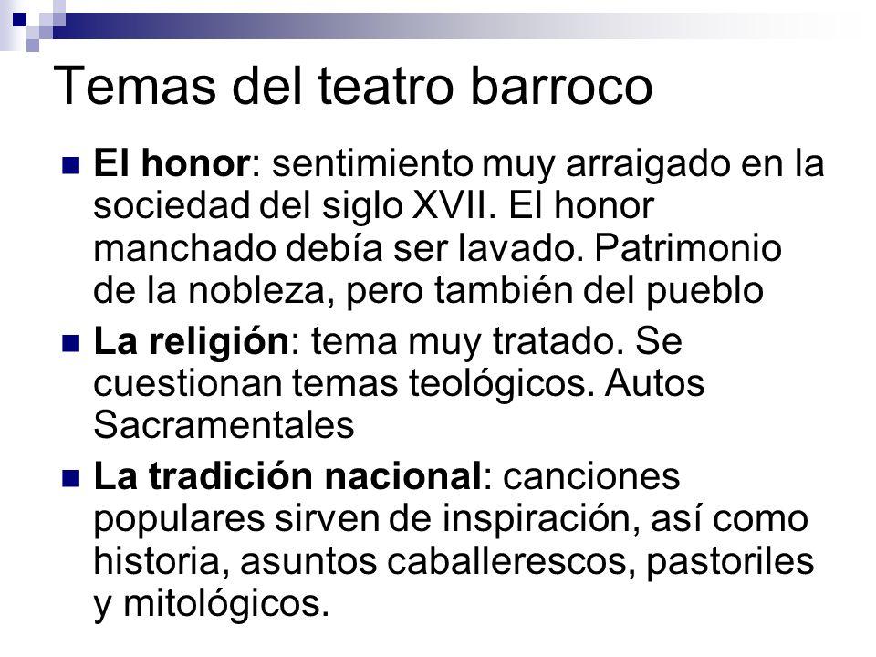Temas del teatro barroco El honor: sentimiento muy arraigado en la sociedad del siglo XVII. El honor manchado debía ser lavado. Patrimonio de la noble