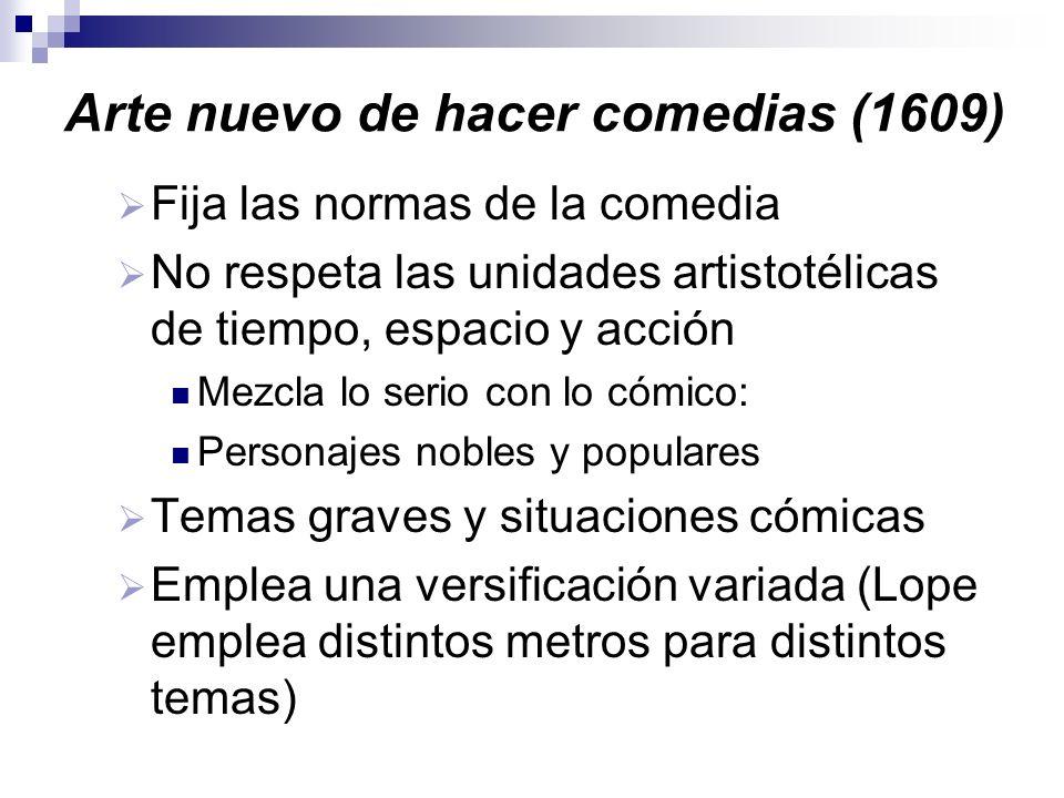 Arte nuevo de hacer comedias (1609) Fija las normas de la comedia No respeta las unidades artistotélicas de tiempo, espacio y acción Mezcla lo serio c