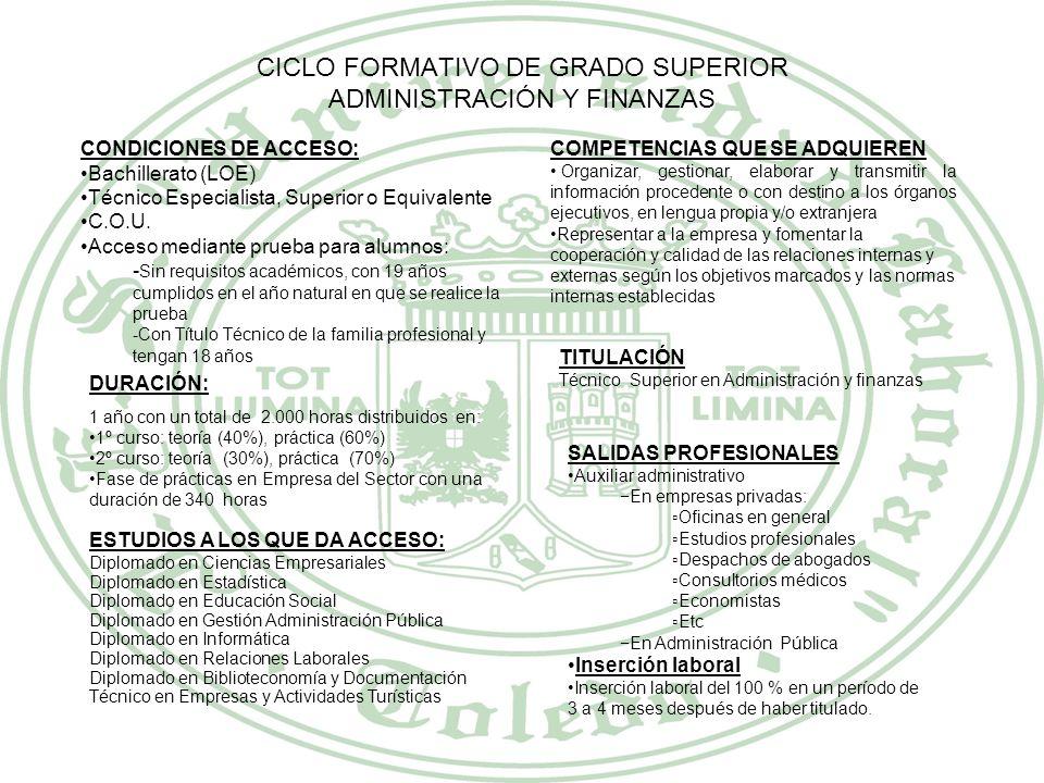 CICLO FORMATIVO DE GRADO SUPERIOR SECRETARIADO CONDICIONES DE ACCESO: Bachillerato (LOE) Técnico Especialista, Superior o Equivalente C.O.U. Acceso me