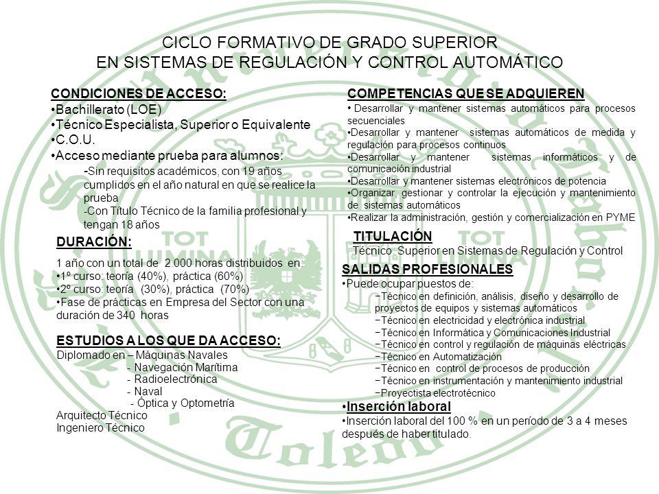CICLO FORMATIVO DE GRADO SUPERIOR INSTALACIONES ELECTROTÉCNICAS CONDICIONES DE ACCESO: Bachillerato (LOE) Técnico Especialista, Superior o Equivalente