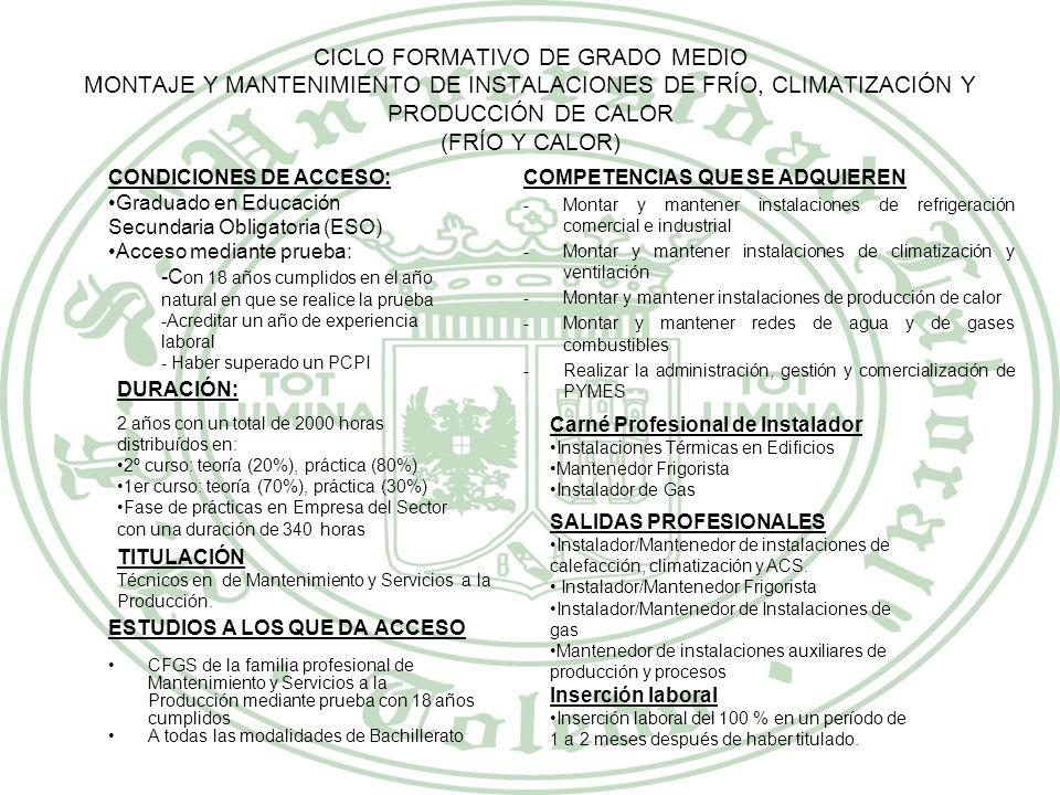 FAMILIA PROFESIONAL MANTENIMIENTO Y SERVICIOS A LA PRODUCCIÓN