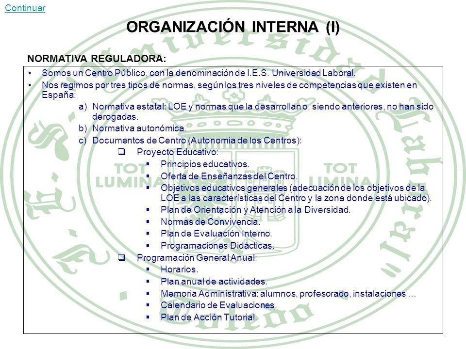 ORGANIZACIÓN INTERNA (I) Somos un Centro Público, con la denominación de I.E.S.