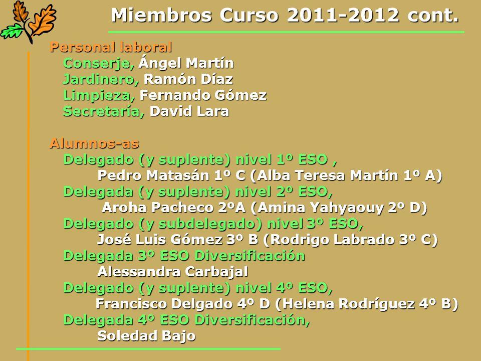 Miembros Curso 2011-2012 cont. Personal laboral Conserje, Ángel Martín Conserje, Ángel Martín Jardinero, Ramón Díaz Jardinero, Ramón Díaz Limpieza, Fe