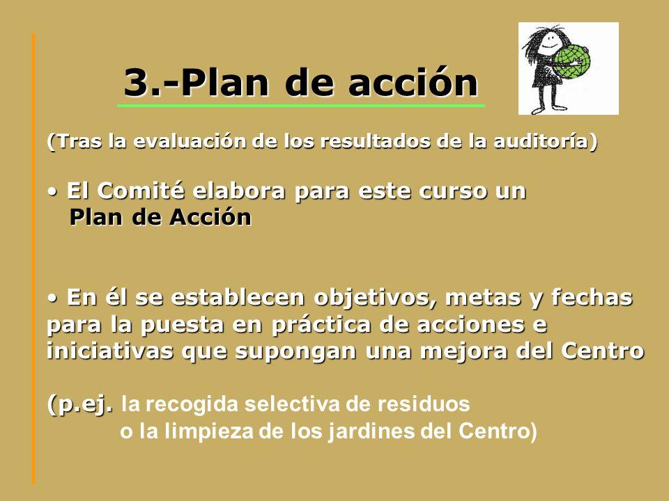 3.-Plan de acción El Comité elabora para este curso un El Comité elabora para este curso un Plan de Acción Plan de Acción En él se establecen objetivo