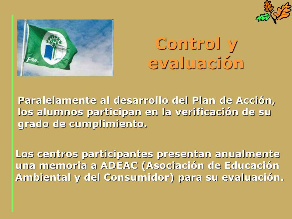 Control y evaluación Paralelamente al desarrollo del Plan de Acción, los alumnos participan en la verificación de su grado de cumplimiento. Los centro