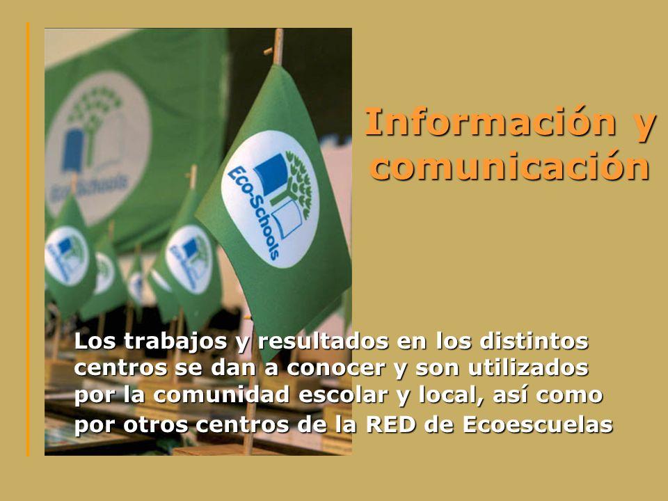 Información y comunicación Los trabajos y resultados en los distintos centros se dan a conocer y son utilizados por la comunidad escolar y local, así