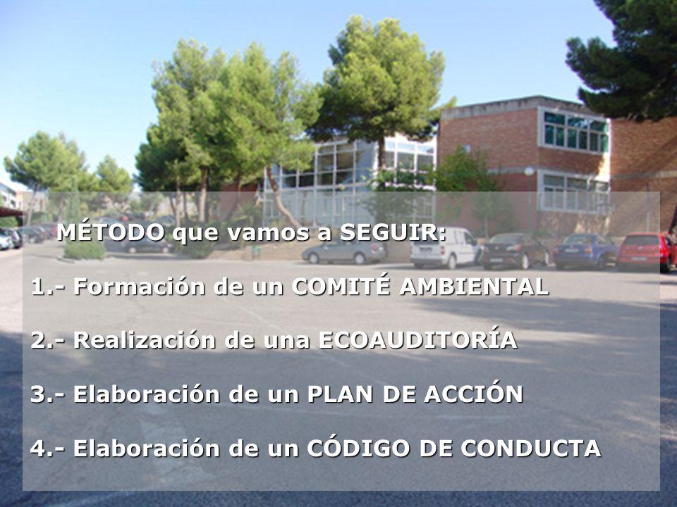 1.-COMITÉ AMBIENTAL Se forma con representación del alumnado, profesorado, madres y padres, personal directivo, administrativo, mantenimiento...
