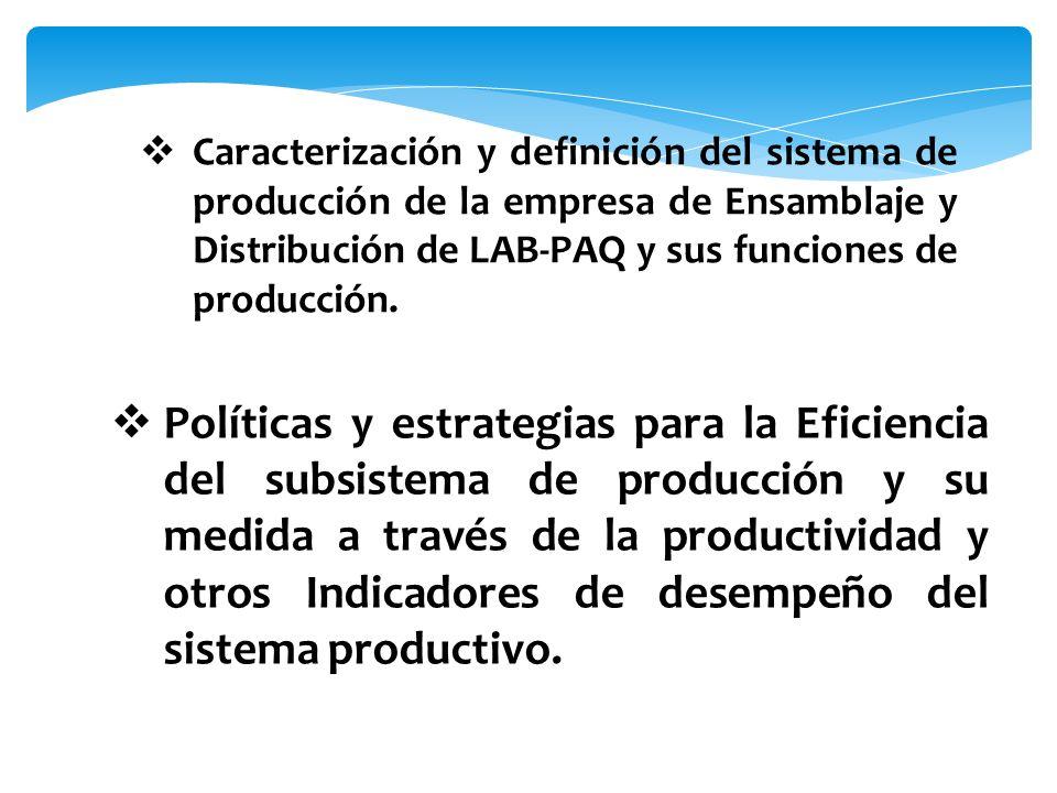 Caracterización y definición del sistema de producción de la empresa de Ensamblaje y Distribución de LAB-PAQ y sus funciones de producción. Políticas