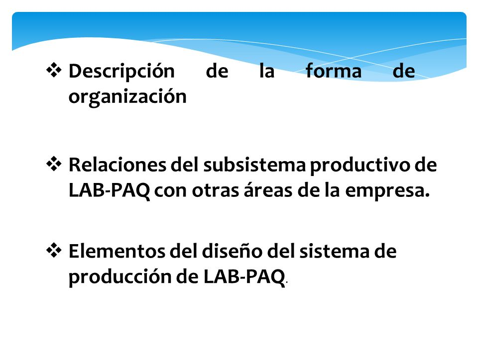 Descripción de la forma de organización Relaciones del subsistema productivo de LAB-PAQ con otras áreas de la empresa. Elementos del diseño del sistem