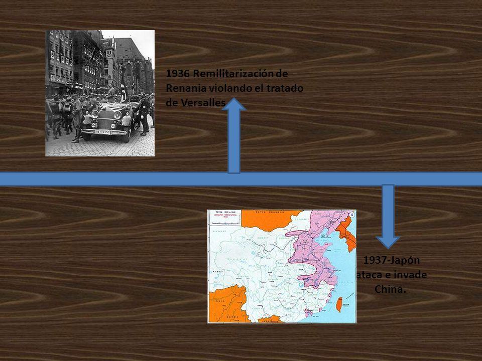 1936 Remilitarización de Renania violando el tratado de Versalles 1937-Japón ataca e invade China.