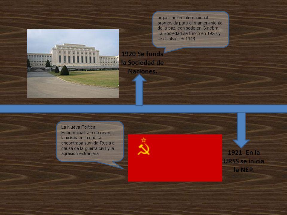 1920 Se funda la Sociedad de Naciones. 1921 En la URSS se inicia la NEP. organización internacional promovida para el mantenimiento de la paz, con sed