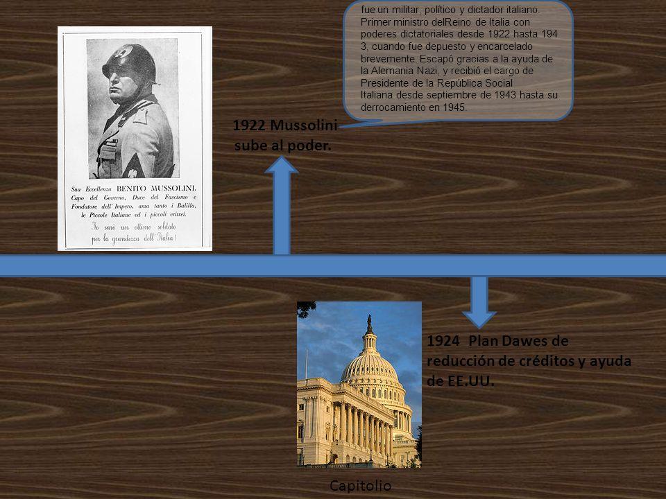1922 Mussolini sube al poder. 1924 Plan Dawes de reducción de créditos y ayuda de EE.UU. Capitolio fue un militar, político y dictador italiano. Prime