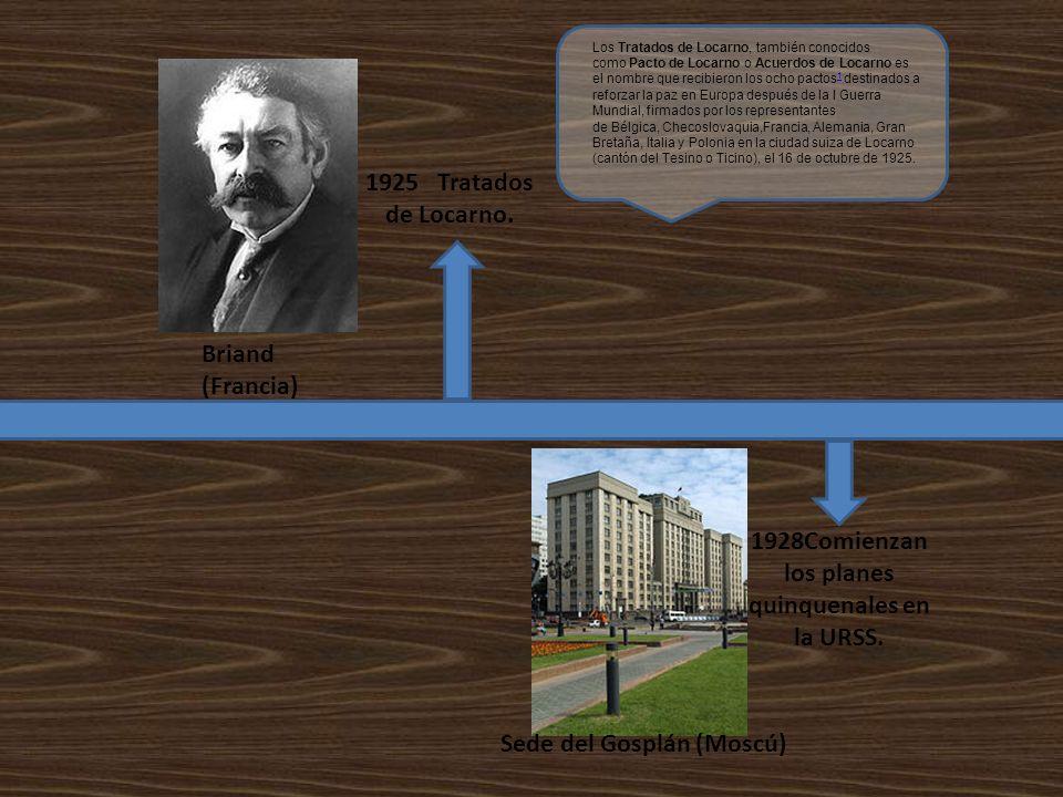 1925 Tratados de Locarno. 1928Comienzan los planes quinquenales en la URSS. Briand (Francia) Sede del Gosplán (Moscú) Los Tratados de Locarno, también