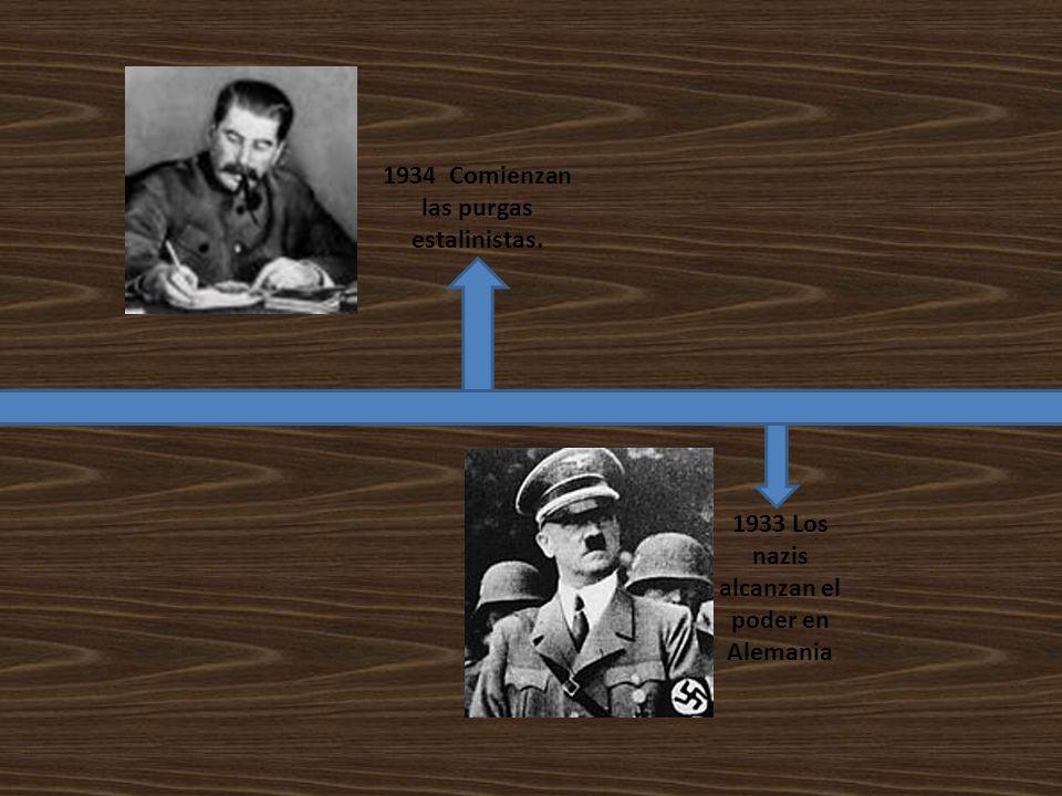 1934 Comienzan las purgas estalinistas. 1933 Los nazis alcanzan el poder en Alemania