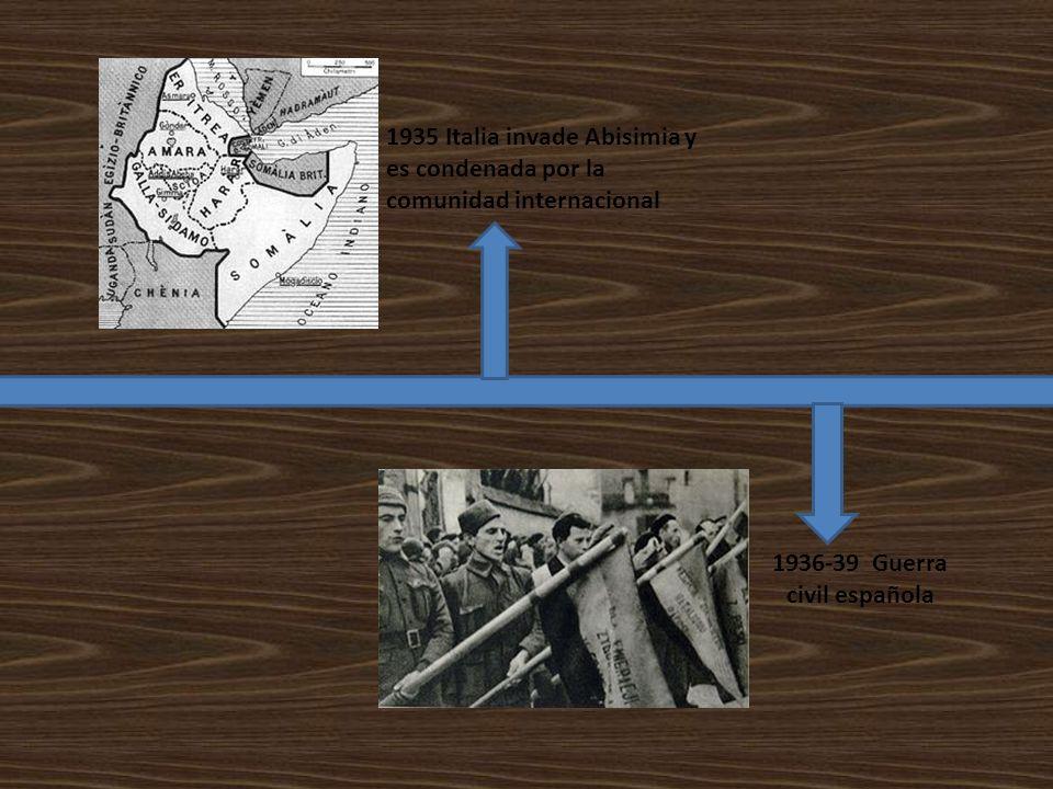 1935 Italia invade Abisimia y es condenada por la comunidad internacional 1936-39 Guerra civil española